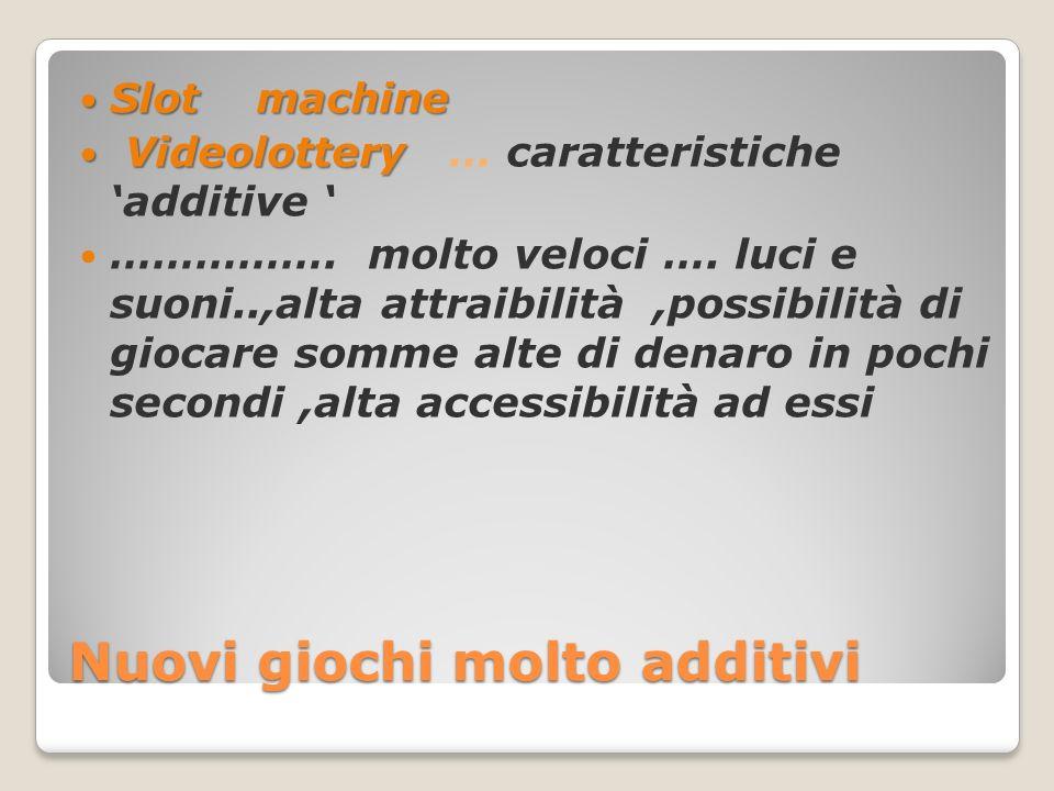 Nuovi giochi molto additivi Slot machine Slot machine Videolottery Videolottery … caratteristiche 'additive ' …………….