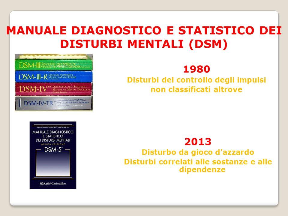 MANUALE DIAGNOSTICO E STATISTICO DEI DISTURBI MENTALI (DSM) 1980 Disturbi del controllo degli impulsi non classificati altrove 2013 Disturbo da gioco d'azzardo Disturbi correlati alle sostanze e alle dipendenze