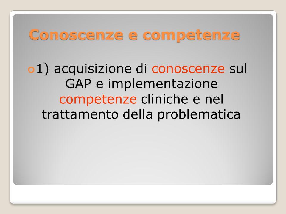 Conoscenze e competenze 1) acquisizione di conoscenze sul GAP e implementazione competenze cliniche e nel trattamento della problematica