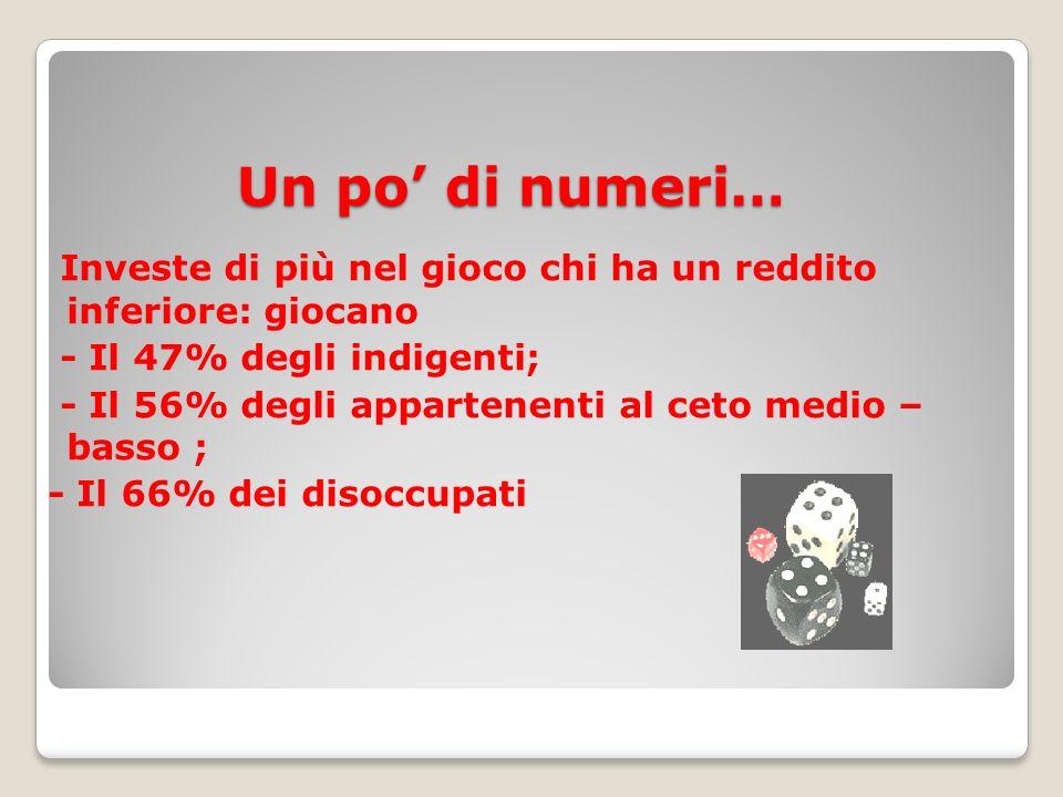 Un po' di numeri… Investe di più nel gioco chi ha un reddito inferiore: giocano - Il 47% degli indigenti; - Il 56% degli appartenenti al ceto medio – basso ; - Il 66% dei disoccupati