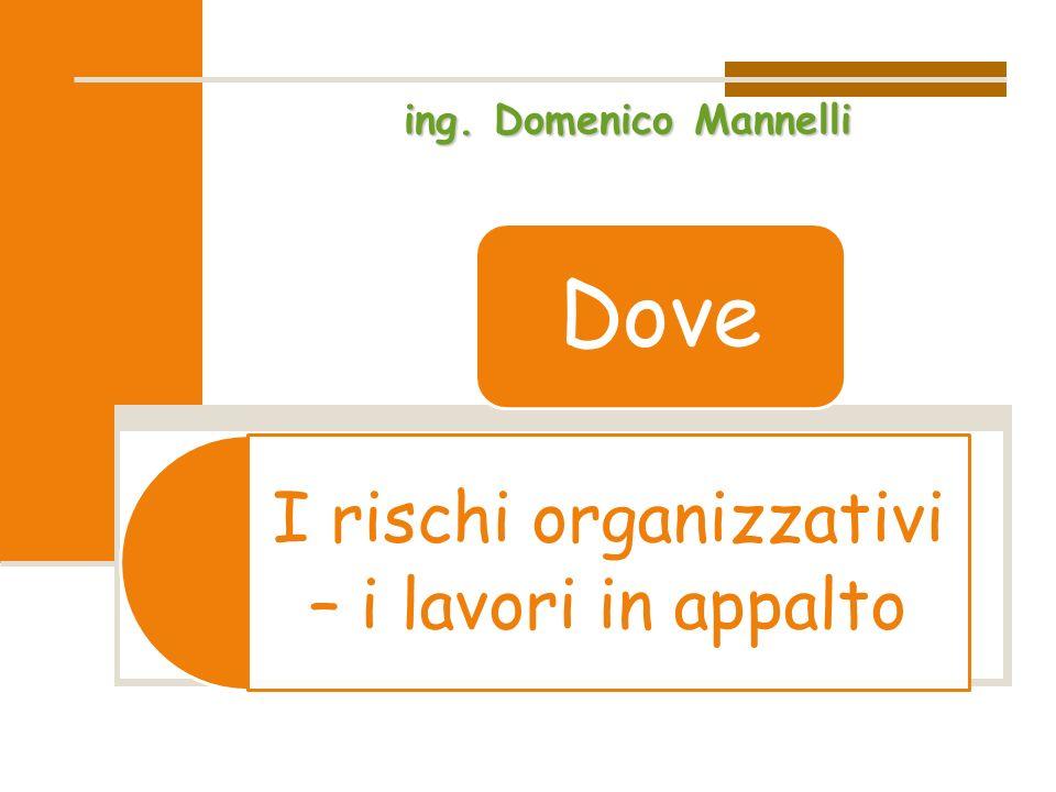I rischi organizzativi – i lavori in appalto Dove ing. Domenico Mannelli