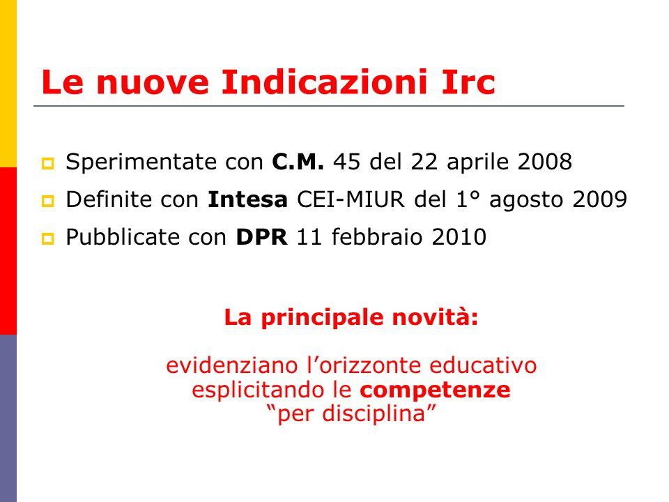 Le nuove Indicazioni Irc  Sperimentate con C.M. 45 del 22 aprile 2008  Definite con Intesa CEI-MIUR del 1° agosto 2009  Pubblicate con DPR 11 febbr