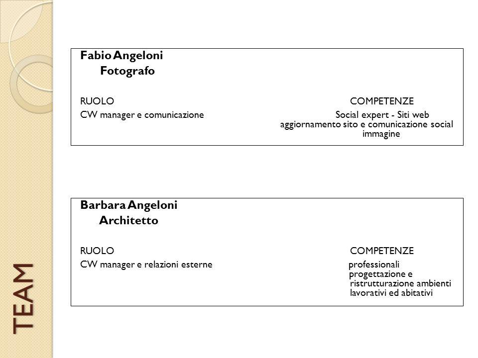 TEAM Barbara Angeloni Architetto RUOLO COMPETENZE CW manager e relazioni esterne professionali progettazione e ristrutturazione ambienti lavorativi ed