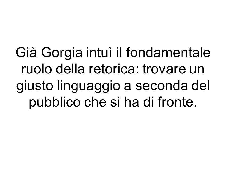 Già Gorgia intuì il fondamentale ruolo della retorica: trovare un giusto linguaggio a seconda del pubblico che si ha di fronte.