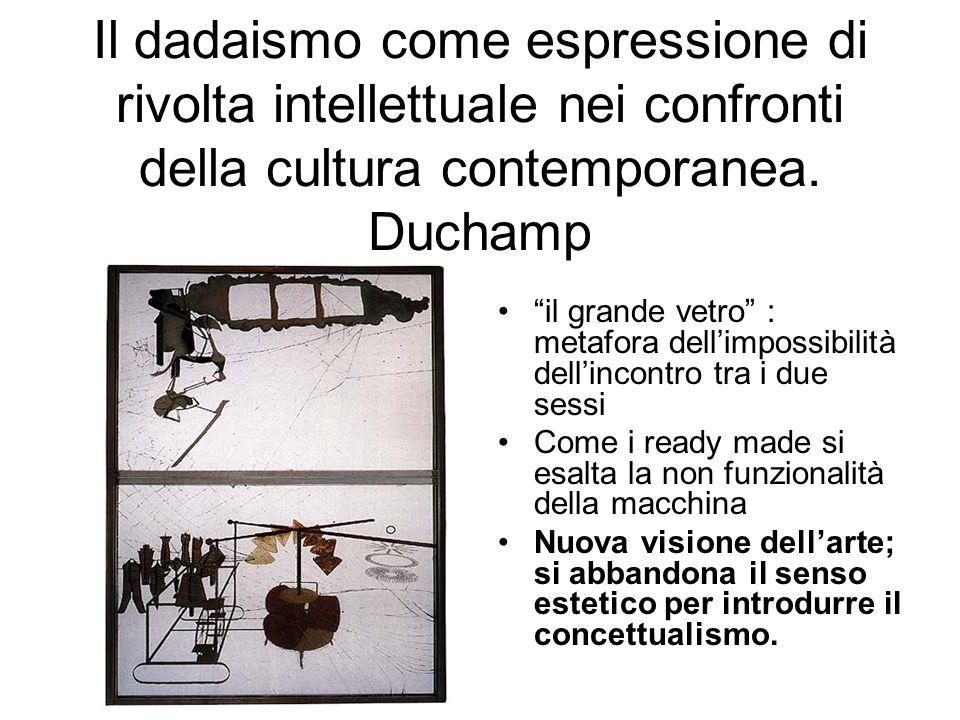 Il dadaismo come espressione di rivolta intellettuale nei confronti della cultura contemporanea.