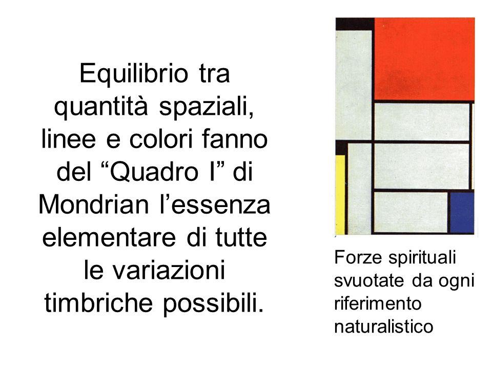 Equilibrio tra quantità spaziali, linee e colori fanno del Quadro I di Mondrian l'essenza elementare di tutte le variazioni timbriche possibili.