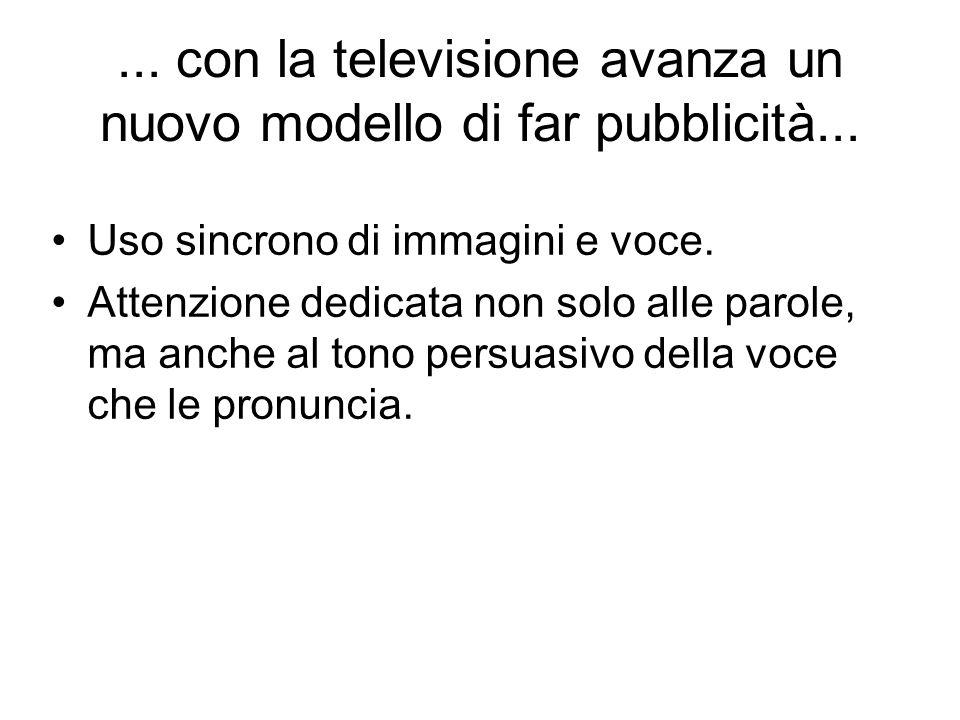...con la televisione avanza un nuovo modello di far pubblicità...