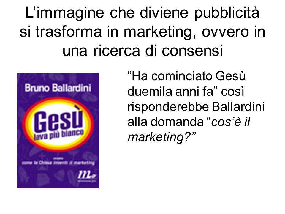L'immagine che diviene pubblicità si trasforma in marketing, ovvero in una ricerca di consensi Ha cominciato Gesù duemila anni fa così risponderebbe Ballardini alla domanda cos'è il marketing?