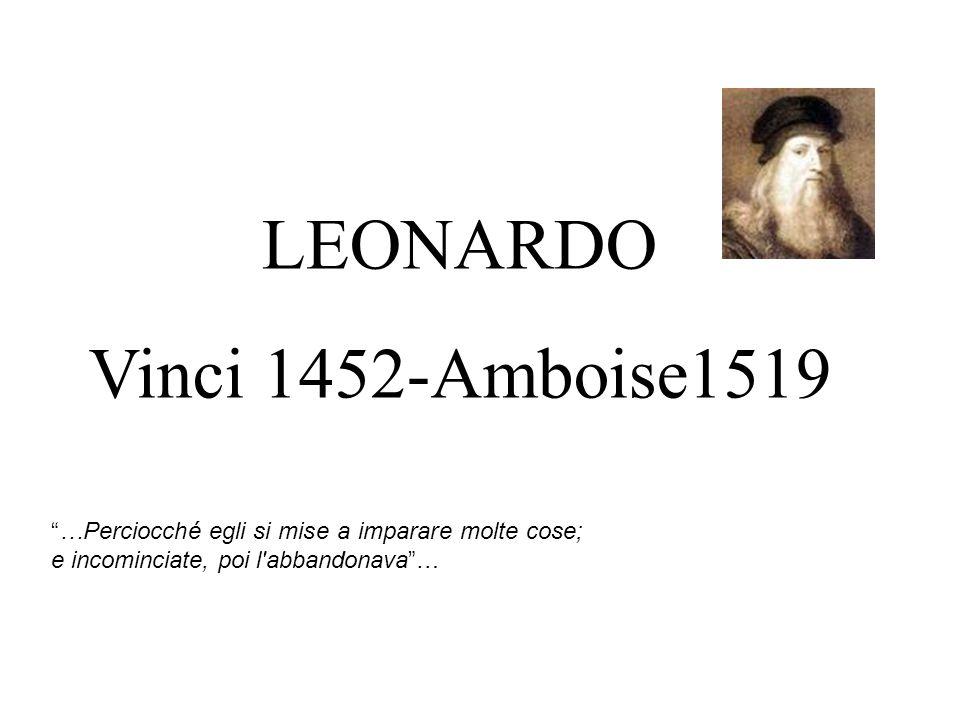 """LEONARDO Vinci 1452-Amboise1519 """"…Perciocché egli si mise a imparare molte cose; e incominciate, poi l'abbandonava""""…"""