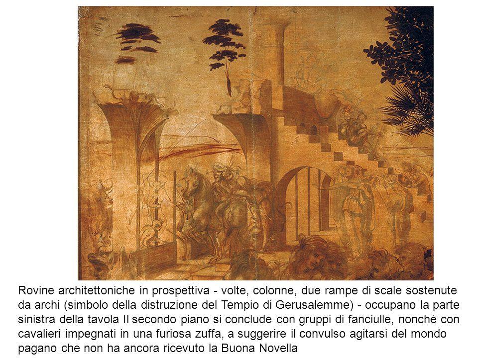 Rovine architettoniche in prospettiva - volte, colonne, due rampe di scale sostenute da archi (simbolo della distruzione del Tempio di Gerusalemme) -