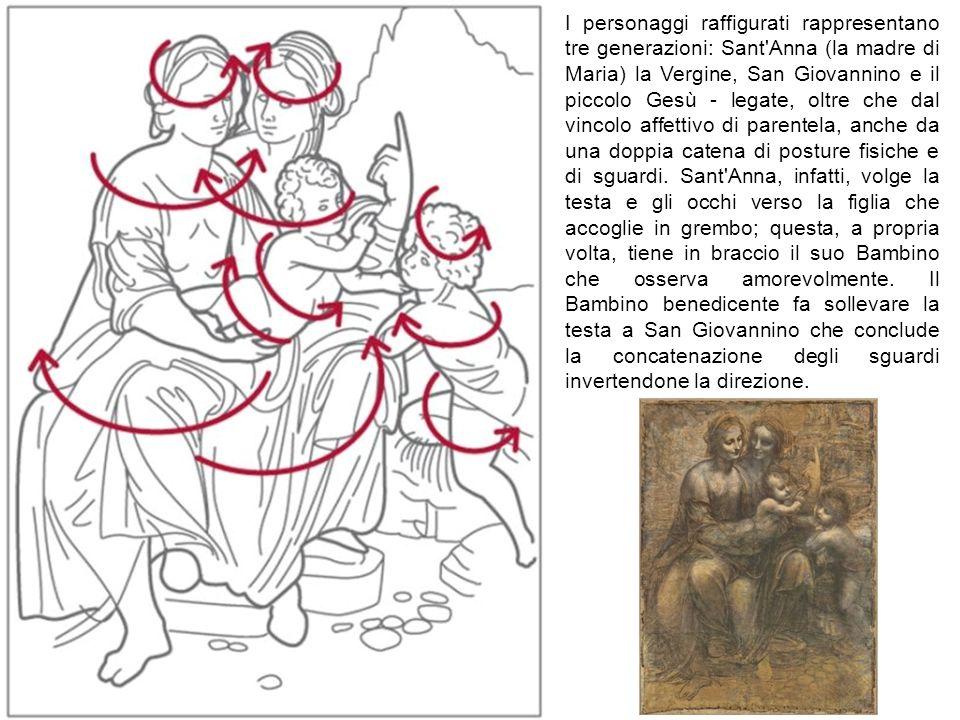 I personaggi raffigurati rappresentano tre generazioni: Sant'Anna (la madre di Maria) la Vergine, San Giovannino e il piccolo Gesù - legate, oltre che