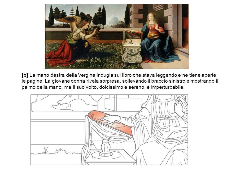 [b] La mano destra della Vergine indugia sul libro che stava leggendo e ne tiene aperte le pagine. La giovane donna rivela sorpresa, sollevando il bra