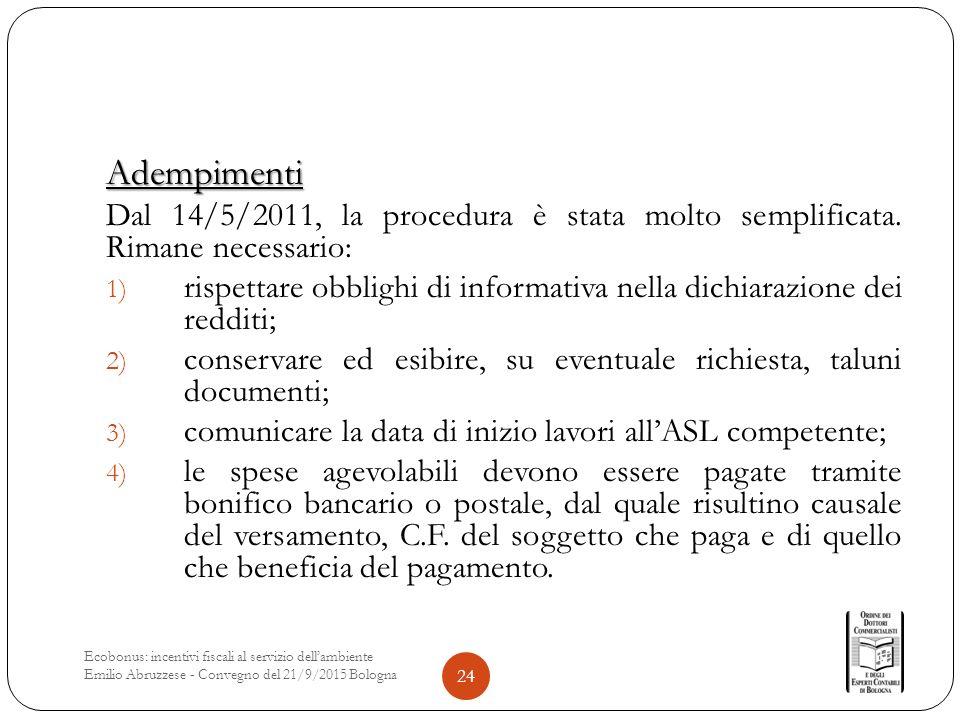 Adempimenti Dal 14/5/2011, la procedura è stata molto semplificata.