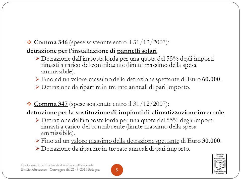  Comma 346 (spese sostenute entro il 31/12/2007): detrazione per l'installazione di pannelli solari  Detrazione dall'imposta lorda per una quota del 55% degli importi rimasti a carico del contribuente (limite massimo della spesa ammissibile).