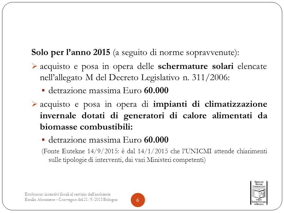 Solo per l'anno 2015 (a seguito di norme sopravvenute):  acquisto e posa in opera delle schermature solari elencate nell'allegato M del Decreto Legislativo n.