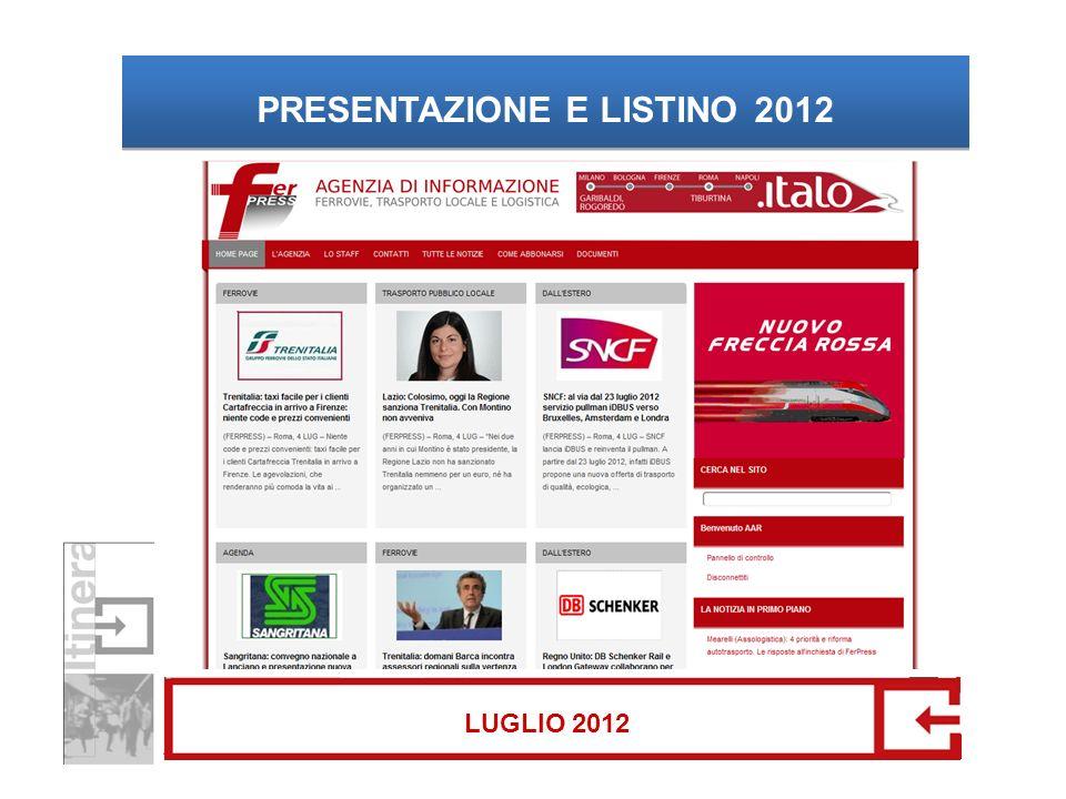 PRESENTAZIONE E LISTINO 2012 LUGLIO 2012