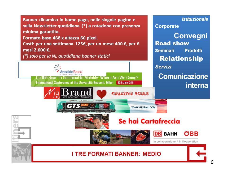 I TRE FORMATI BANNER: MEDIO Banner dinamico in home page, nelle singole pagine e sulla Newsletter quotidiana (*) a rotazione con presenza minima garan