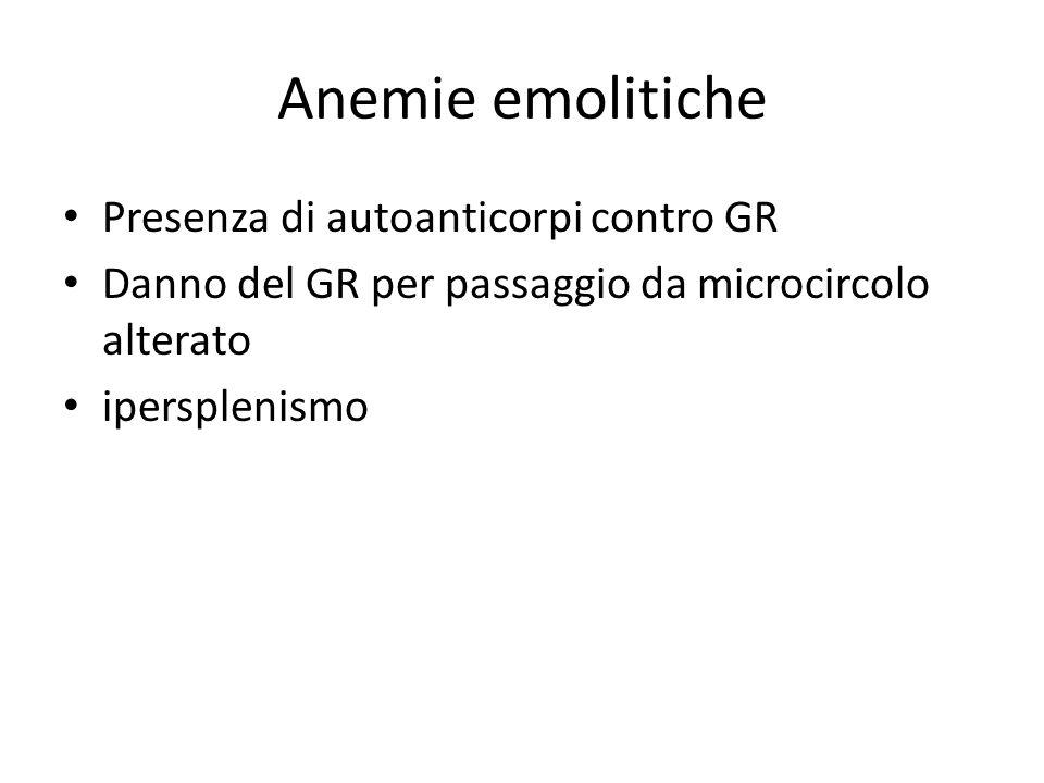 Anemie emolitiche Presenza di autoanticorpi contro GR Danno del GR per passaggio da microcircolo alterato ipersplenismo