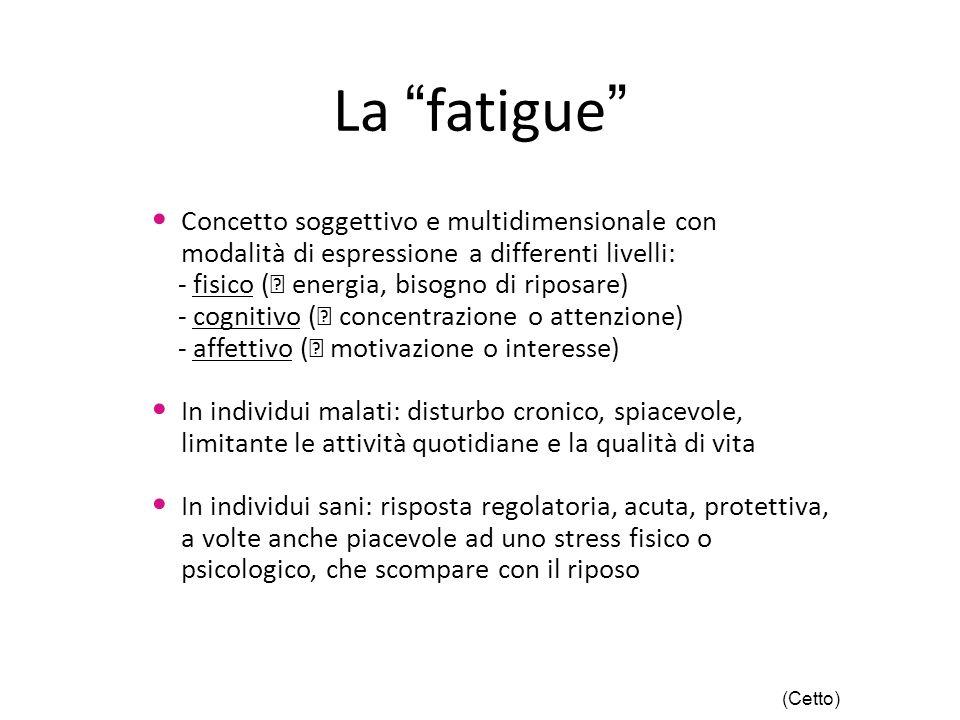 """La """"fatigue"""" Concetto soggettivo e multidimensionale con modalità di espressione a differenti livelli: - fisico (  energia, bisogno di riposare) - co"""