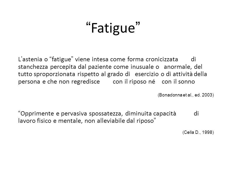 """""""Fatigue"""" L'astenia o """"fatigue"""" viene intesa come forma cronicizzata di stanchezza percepita dal paziente come inusuale o anormale, del tutto sproporz"""