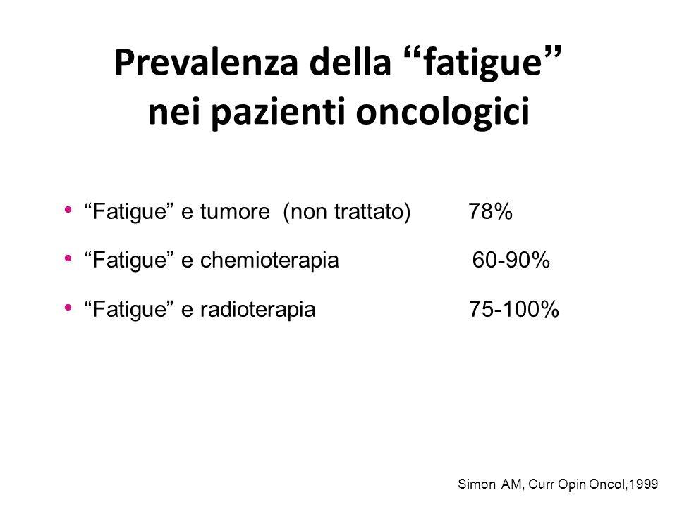 """Prevalenza della """"fatigue"""" nei pazienti oncologici """"Fatigue"""" e tumore (non trattato) 78% """"Fatigue"""" e chemioterapia 60-90% """"Fatigue"""" e radioterapia 75-"""