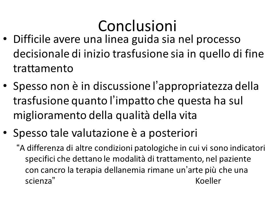 Conclusioni Difficile avere una linea guida sia nel processo decisionale di inizio trasfusione sia in quello di fine trattamento Spesso non è in discu