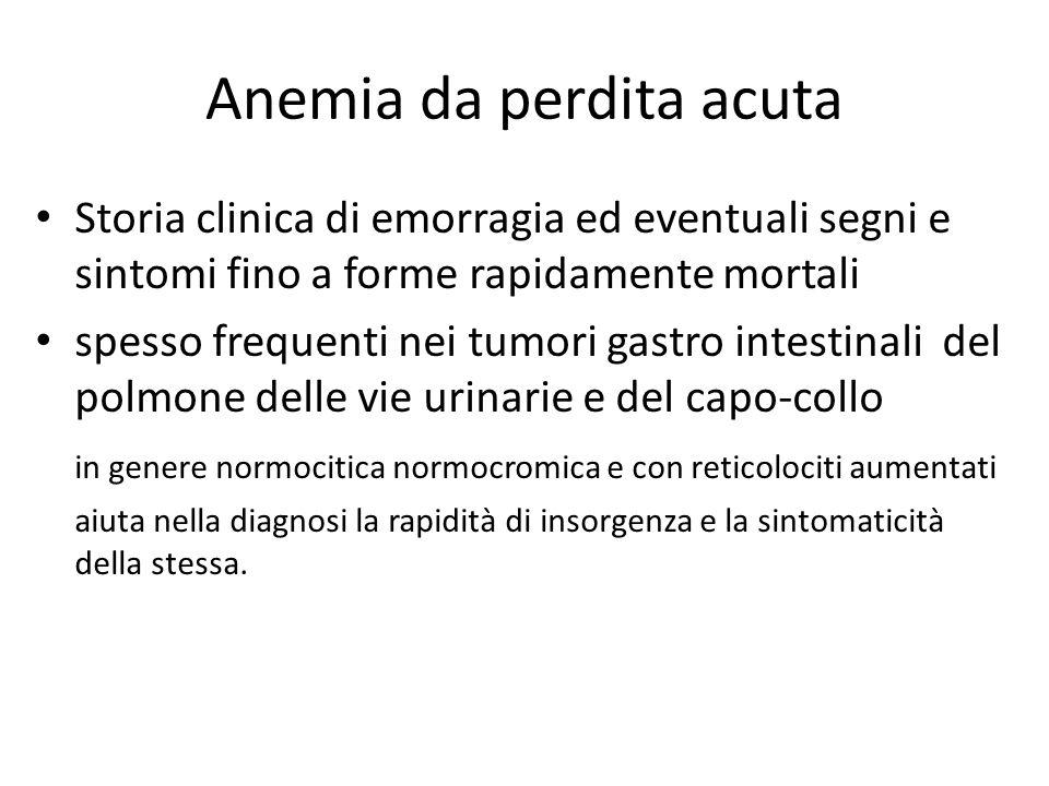 Anemia da perdita acuta Storia clinica di emorragia ed eventuali segni e sintomi fino a forme rapidamente mortali spesso frequenti nei tumori gastro i