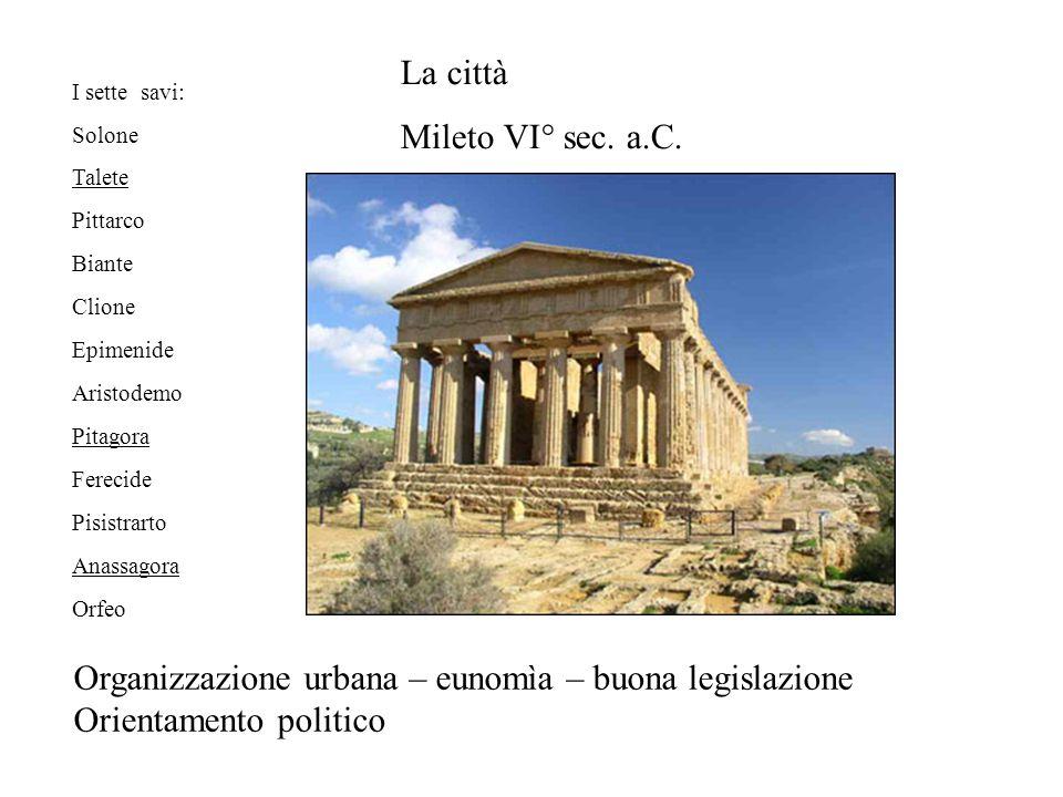 I sette savi: Solone Talete Pittarco Biante Clione Epimenide Aristodemo Pitagora Ferecide Pisistrarto Anassagora Orfeo La città Mileto VI° sec.