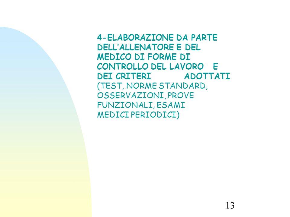 13 4-ELABORAZIONE DA PARTE DELL'ALLENATORE E DEL MEDICO DI FORME DI CONTROLLO DEL LAVORO E DEI CRITERI ADOTTATI (TEST, NORME STANDARD, OSSERVAZIONI, PROVE FUNZIONALI, ESAMI MEDICI PERIODICI)