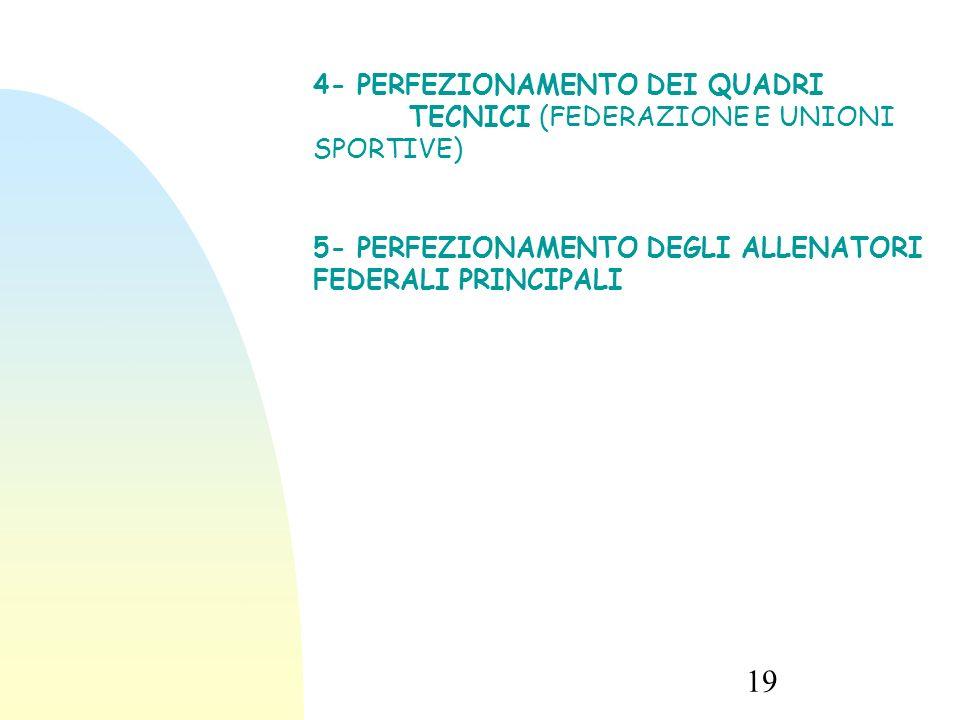 19 4- PERFEZIONAMENTO DEI QUADRI TECNICI (FEDERAZIONE E UNIONI SPORTIVE) 5- PERFEZIONAMENTO DEGLI ALLENATORI FEDERALI PRINCIPALI