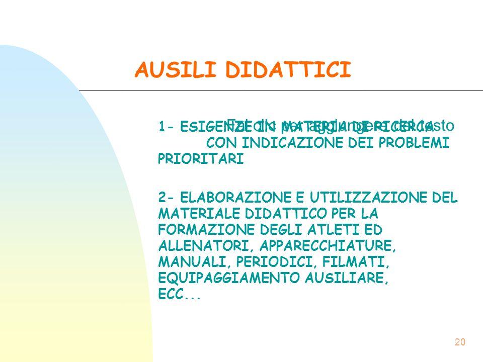 Fai clic per aggiungere del testo 20 AUSILI DIDATTICI 1- ESIGENZE IN MATERIA DI RICERCA CON INDICAZIONE DEI PROBLEMI PRIORITARI 2- ELABORAZIONE E UTILIZZAZIONE DEL MATERIALE DIDATTICO PER LA FORMAZIONE DEGLI ATLETI ED ALLENATORI, APPARECCHIATURE, MANUALI, PERIODICI, FILMATI, EQUIPAGGIAMENTO AUSILIARE, ECC...