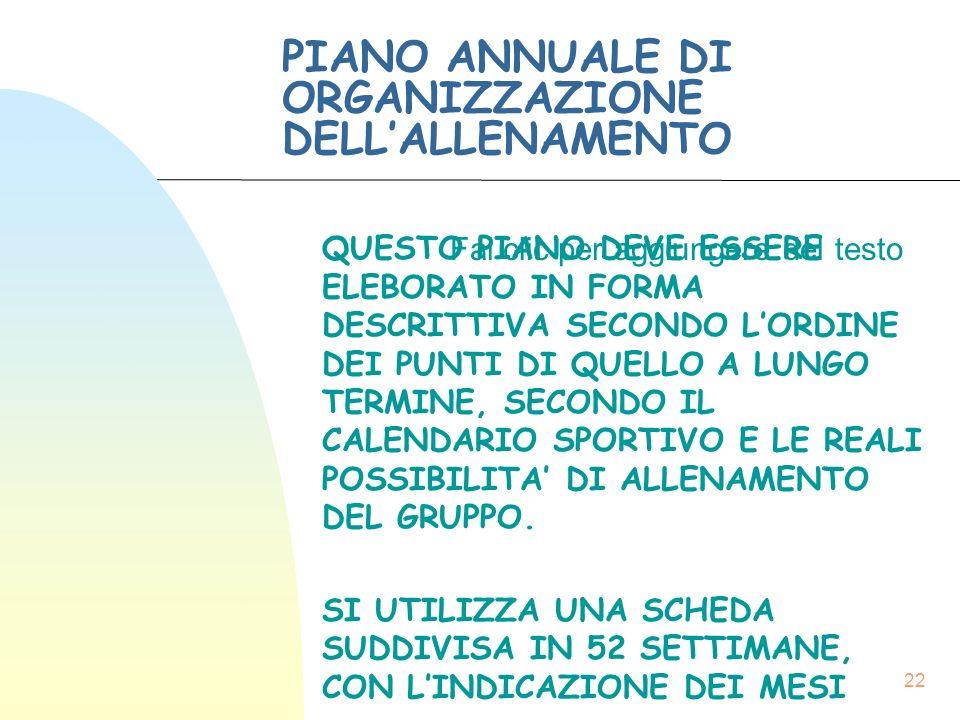 Fai clic per aggiungere del testo 22 PIANO ANNUALE DI ORGANIZZAZIONE DELL'ALLENAMENTO QUESTO PIANO DEVE ESSERE ELEBORATO IN FORMA DESCRITTIVA SECONDO L'ORDINE DEI PUNTI DI QUELLO A LUNGO TERMINE, SECONDO IL CALENDARIO SPORTIVO E LE REALI POSSIBILITA' DI ALLENAMENTO DEL GRUPPO.
