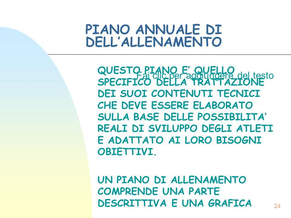 Fai clic per aggiungere del testo 24 PIANO ANNUALE DI DELL'ALLENAMENTO QUESTO PIANO E' QUELLO SPECIFICO DELLA TRATTAZIONE DEI SUOI CONTENUTI TECNICI CHE DEVE ESSERE ELABORATO SULLA BASE DELLE POSSIBILITA' REALI DI SVILUPPO DEGLI ATLETI E ADATTATO AI LORO BISOGNI OBIETTIVI.