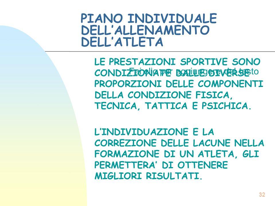 Fai clic per aggiungere del testo 32 PIANO INDIVIDUALE DELL'ALLENAMENTO DELL'ATLETA LE PRESTAZIONI SPORTIVE SONO CONDIZIONATE DALLE DIVERSE PROPORZIONI DELLE COMPONENTI DELLA CONDIZIONE FISICA, TECNICA, TATTICA E PSICHICA.
