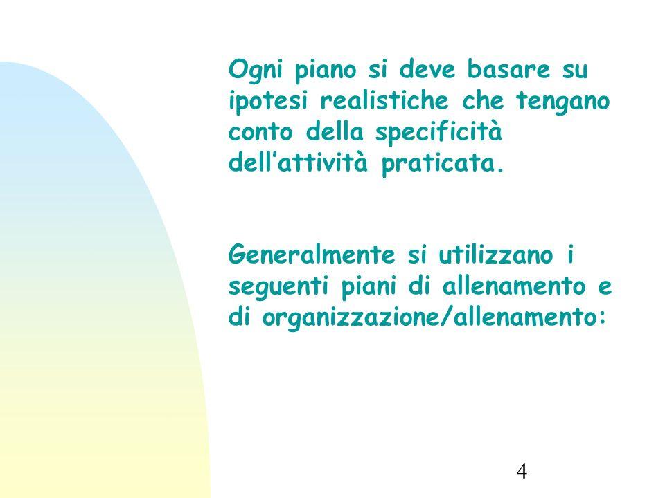 4 Ogni piano si deve basare su ipotesi realistiche che tengano conto della specificità dell'attività praticata.