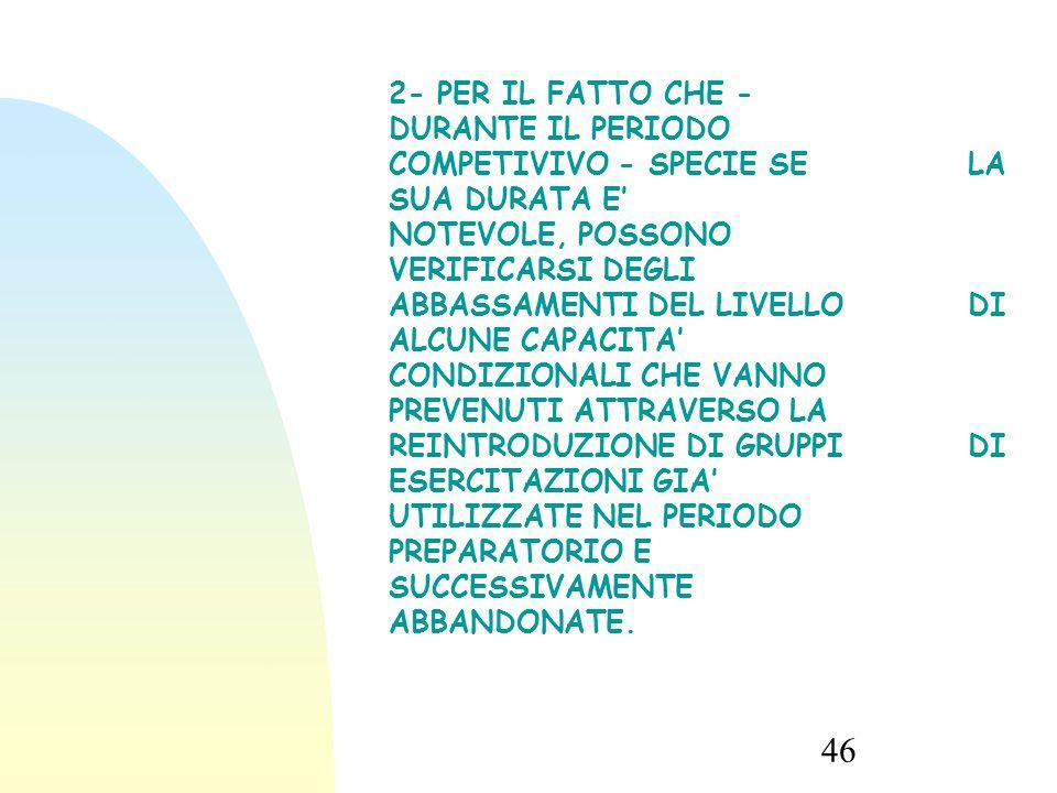46 2- PER IL FATTO CHE - DURANTE IL PERIODO COMPETIVIVO - SPECIE SE LA SUA DURATA E' NOTEVOLE, POSSONO VERIFICARSI DEGLI ABBASSAMENTI DEL LIVELLO DI ALCUNE CAPACITA' CONDIZIONALI CHE VANNO PREVENUTI ATTRAVERSO LA REINTRODUZIONE DI GRUPPI DI ESERCITAZIONI GIA' UTILIZZATE NEL PERIODO PREPARATORIO E SUCCESSIVAMENTE ABBANDONATE.