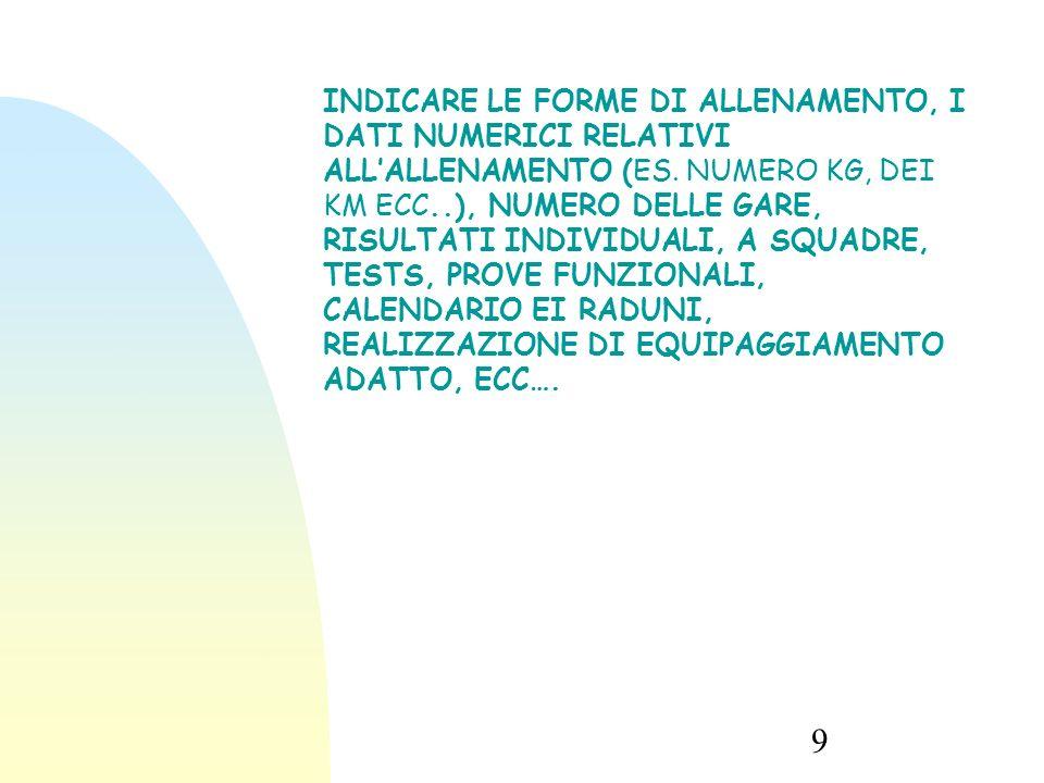 9 INDICARE LE FORME DI ALLENAMENTO, I DATI NUMERICI RELATIVI ALL'ALLENAMENTO (ES.