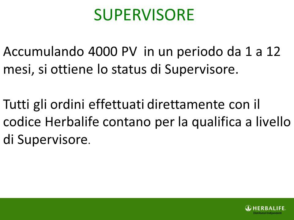 Accumulando 4000 PV in un periodo da 1 a 12 mesi, si ottiene lo status di Supervisore. Tutti gli ordini effettuati direttamente con il codice Herbalif