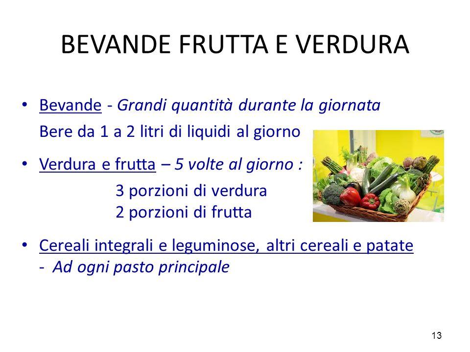 13 BEVANDE FRUTTA E VERDURA Bevande - Grandi quantità durante la giornata Bere da 1 a 2 litri di liquidi al giorno Verdura e frutta – 5 volte al giorn