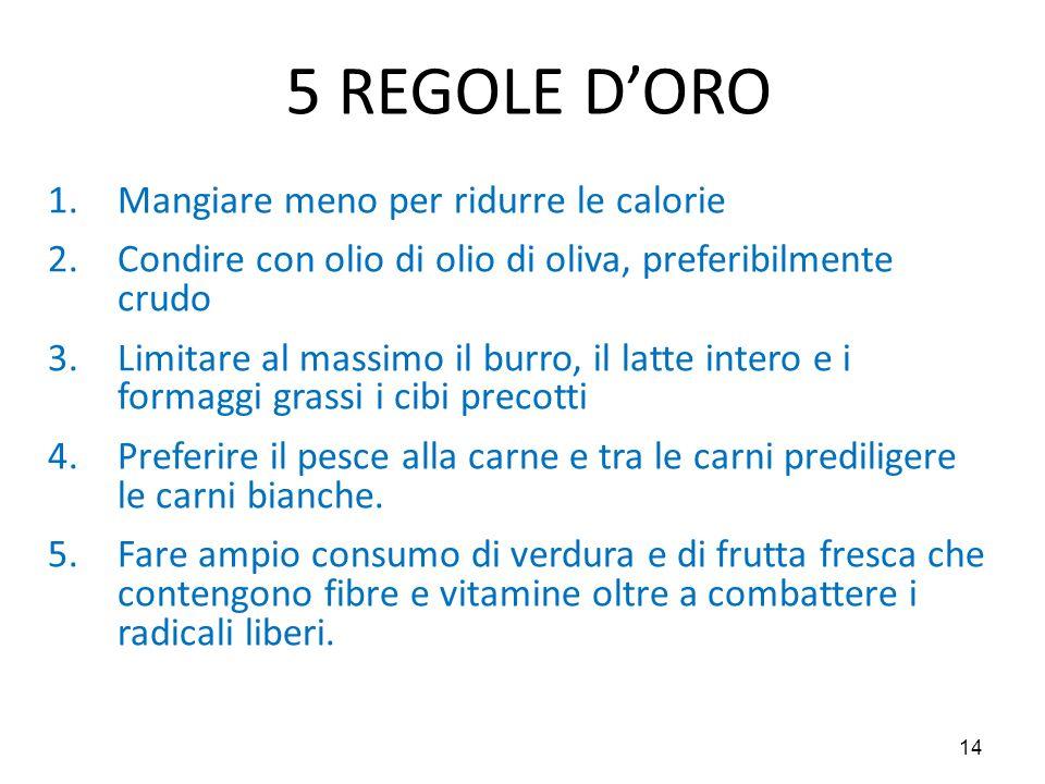 14 5 REGOLE D'ORO 1.Mangiare meno per ridurre le calorie 2.Condire con olio di olio di oliva, preferibilmente crudo 3.Limitare al massimo il burro, il