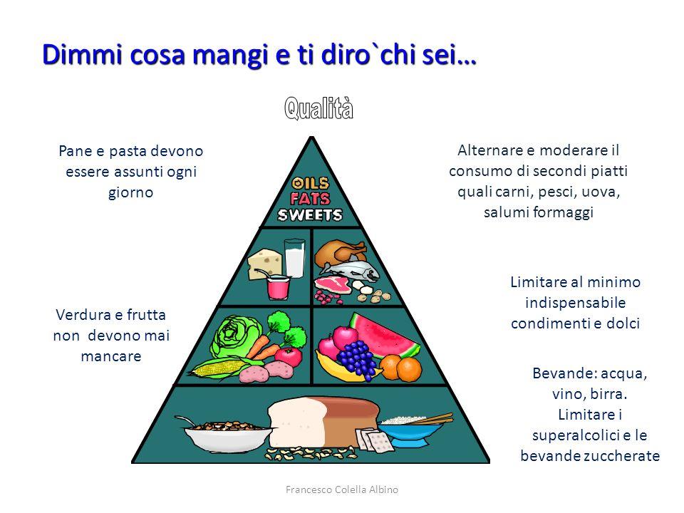 Francesco Colella Albino Pane e pasta devono essere assunti ogni giorno Verdura e frutta non devono mai mancare Alternare e moderare il consumo di sec