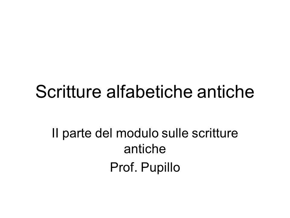 Scritture alfabetiche antiche II parte del modulo sulle scritture antiche Prof. Pupillo
