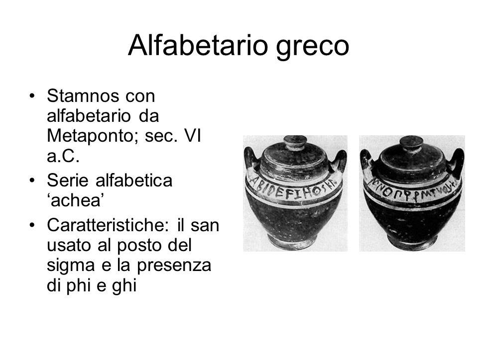 Alfabetario greco Stamnos con alfabetario da Metaponto; sec. VI a.C. Serie alfabetica 'achea' Caratteristiche: il san usato al posto del sigma e la pr