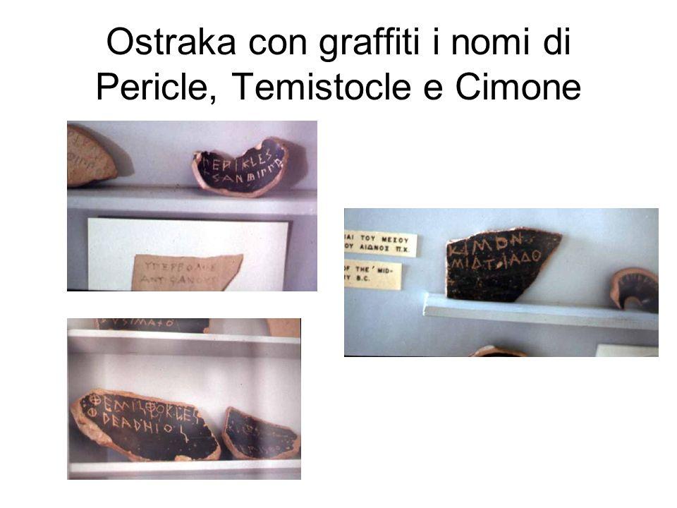 Ostraka con graffiti i nomi di Pericle, Temistocle e Cimone