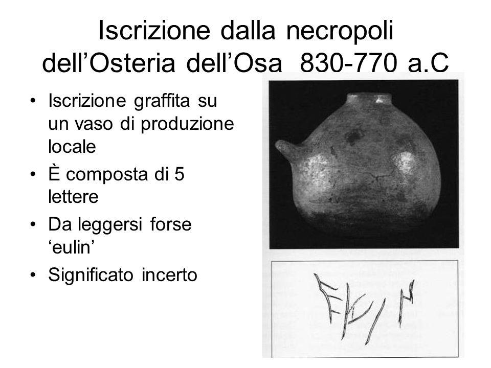 Iscrizione dalla necropoli dell'Osteria dell'Osa 830-770 a.C Iscrizione graffita su un vaso di produzione locale È composta di 5 lettere Da leggersi f
