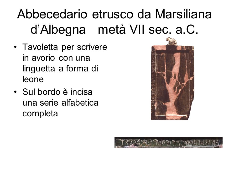 Abbecedario etrusco da Marsiliana d'Albegna metà VII sec. a.C. Tavoletta per scrivere in avorio con una linguetta a forma di leone Sul bordo è incisa