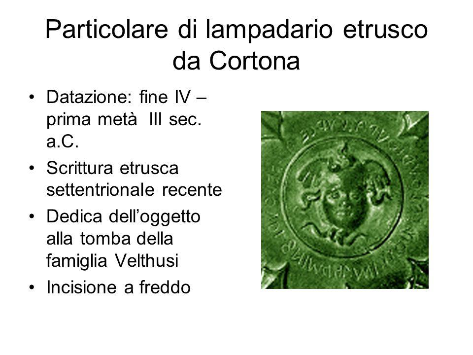 Particolare di lampadario etrusco da Cortona Datazione: fine IV – prima metà III sec. a.C. Scrittura etrusca settentrionale recente Dedica dell'oggett
