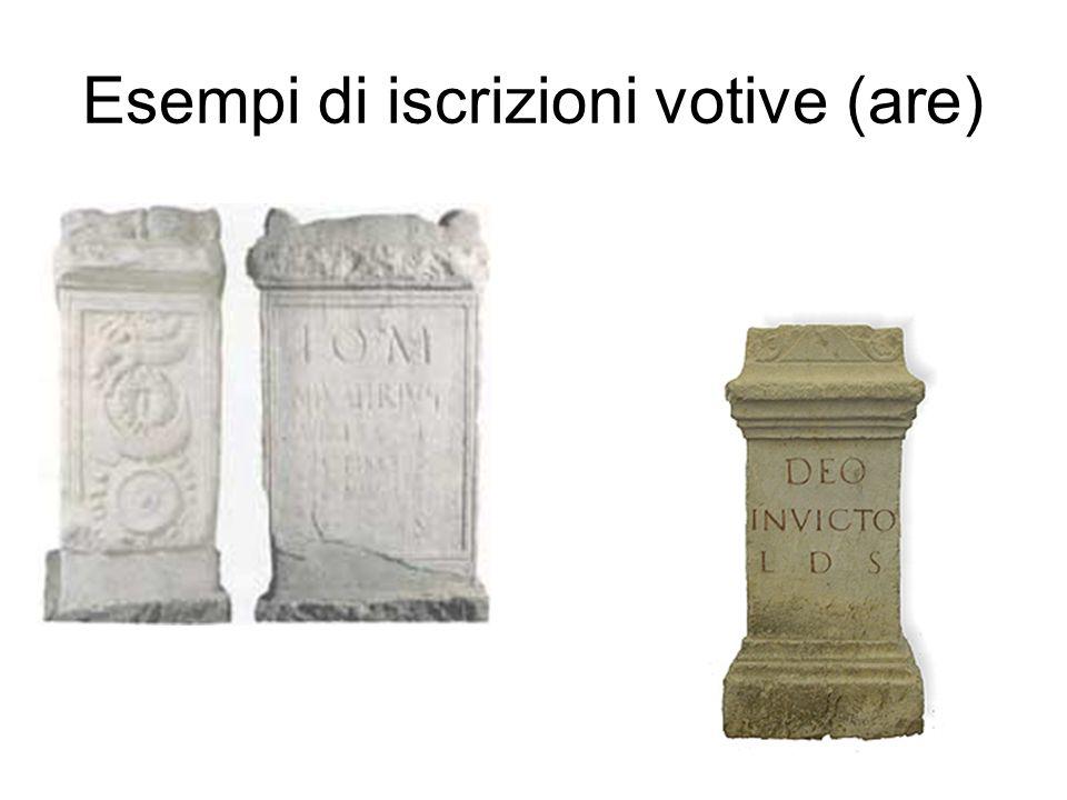Esempi di iscrizioni votive (are)