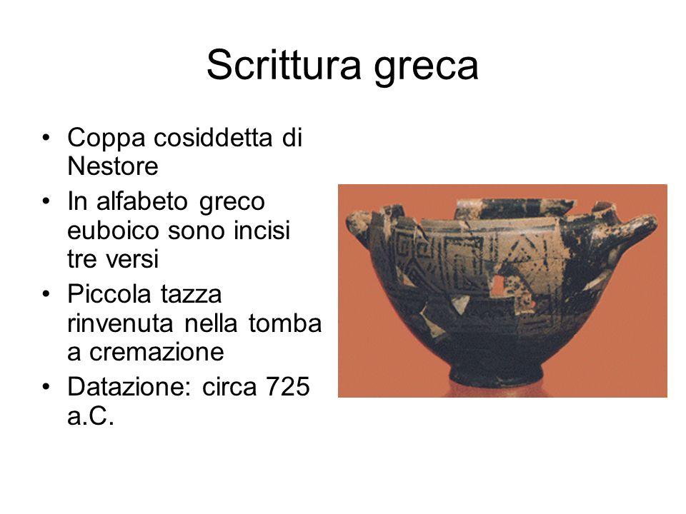Scrittura greca Coppa cosiddetta di Nestore In alfabeto greco euboico sono incisi tre versi Piccola tazza rinvenuta nella tomba a cremazione Datazione