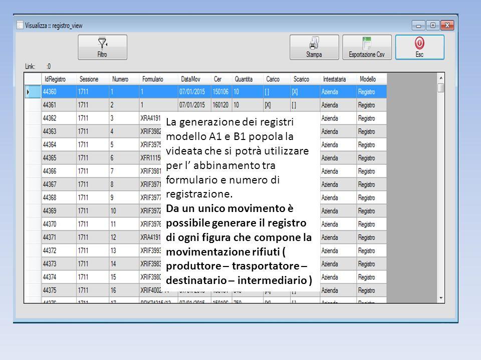 La generazione dei registri modello A1 e B1 popola la videata che si potrà utilizzare per l' abbinamento tra formulario e numero di registrazione.